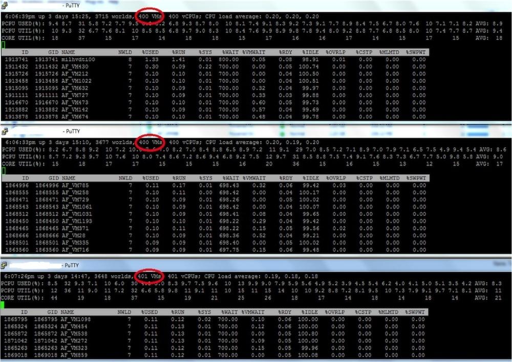 esxtop 3-node VSAN 1200 VMs