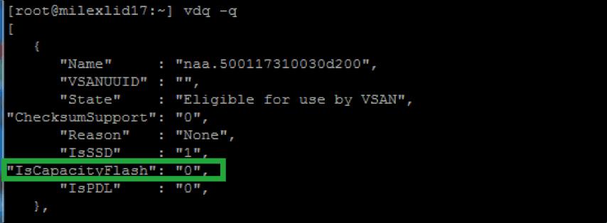 ESXi host showing disk information VSAN