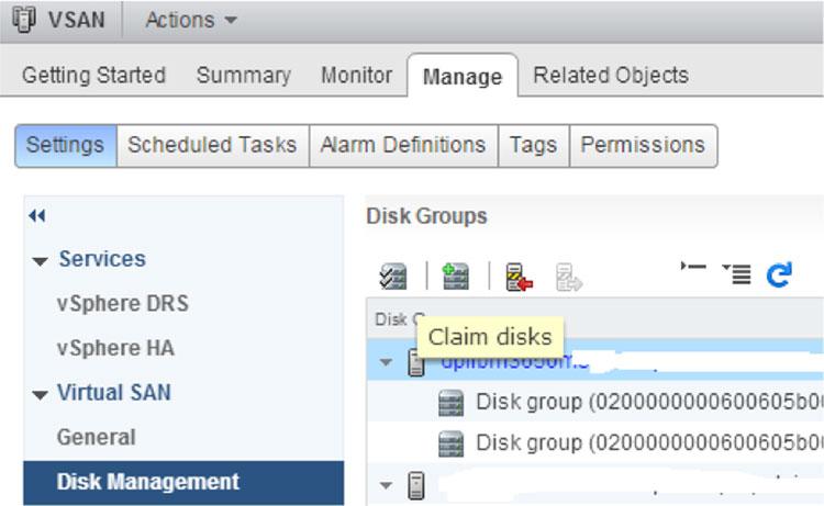 Fig 1: Virtual SAN All Flash Configuration – Claim Disk