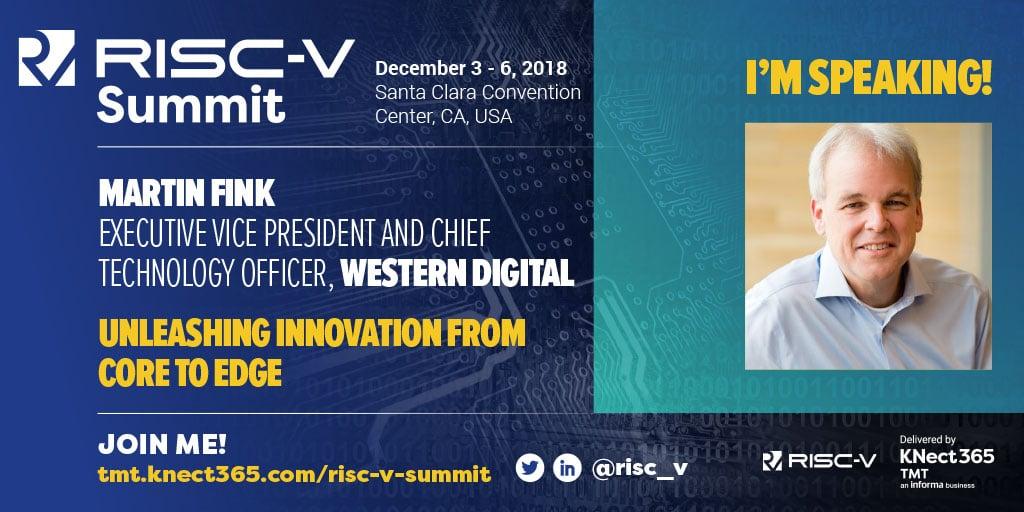 Western Digital CTO Martin Fink speaking at RISC-V Summit