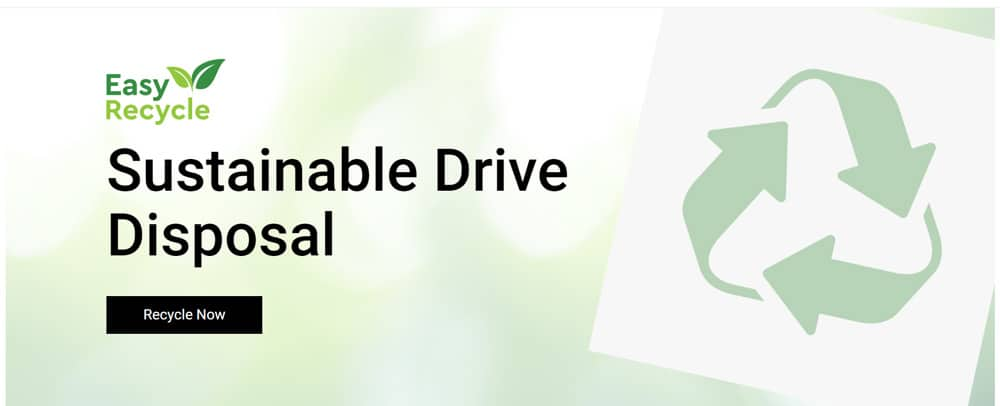 Web banner for Western Digital's Easy Recycle program.