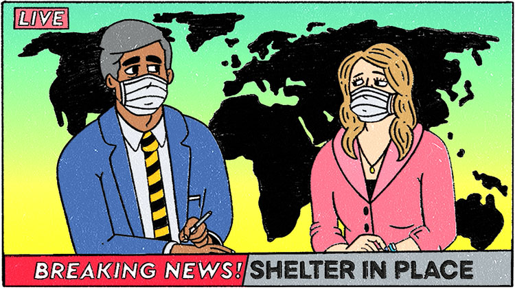 illustration of news announcing shelter in place