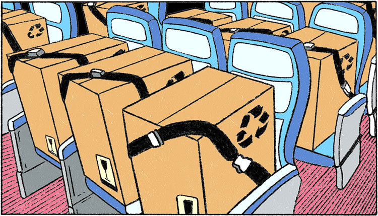 illustration of cargo shipped on passenger seats during the pandemic