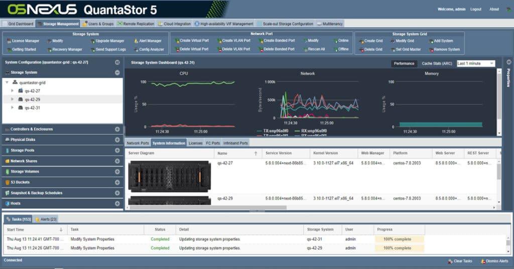 Screenshot of QuantaStor
