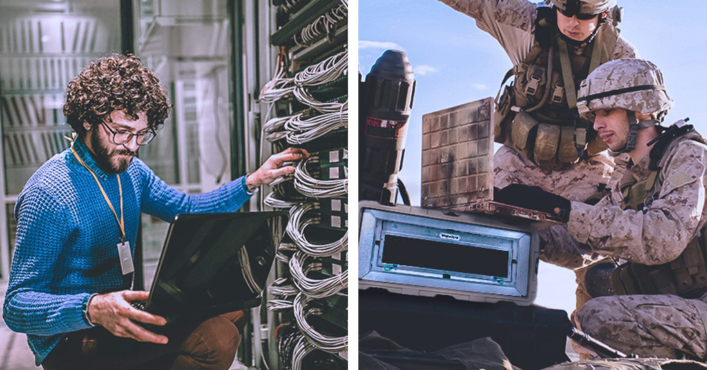Two side-by-side images showing a traditional data center and users with an edge server at the remote edge