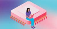illustration of woman sitting on ASIC chip