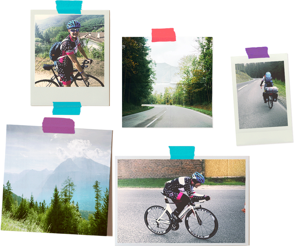 Collage of photographs of cyclist in the Alps