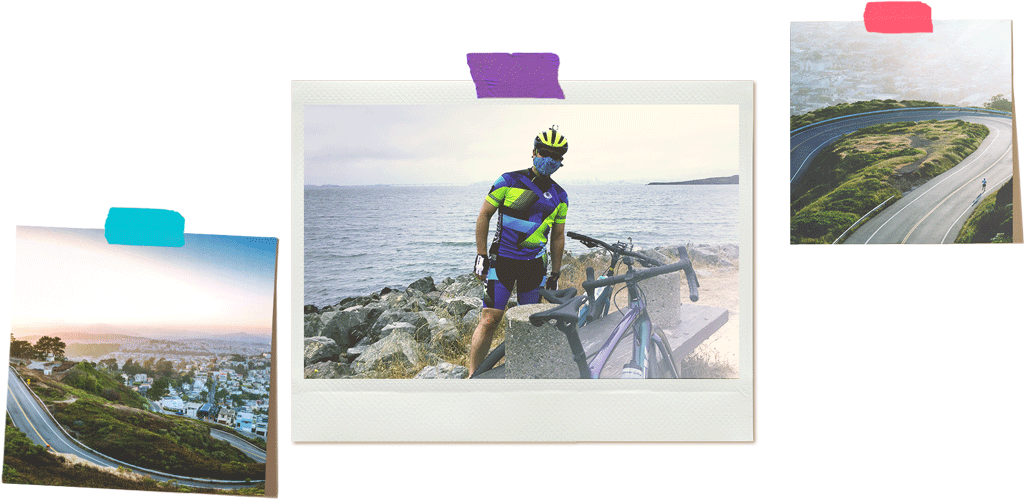 Collage of photographs of a cyclist in the bay area