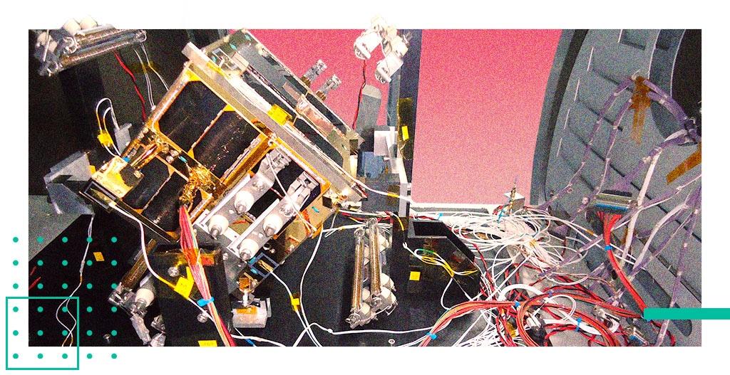 A satellite undergoing testing