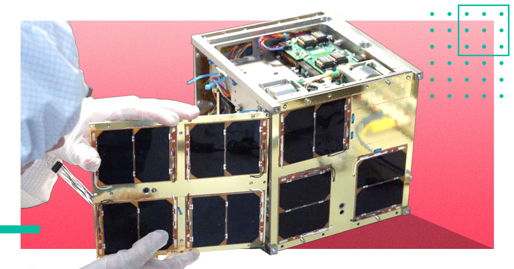 small satellite being assembled